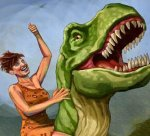 Woman on Dinosaur